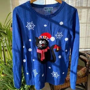 Blue cat holiday sweater with bells